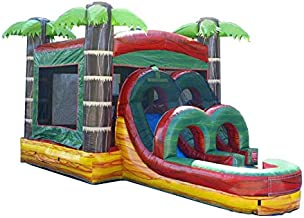 TentandTable Kids Fire Marble Single Lane Wet or Dry Slide & Bounce House Combo, 26-Foot Long by 13-Foot Wide by 14-Foot Tall, Commercial Grade Inflatable, Blower and Stakes Included