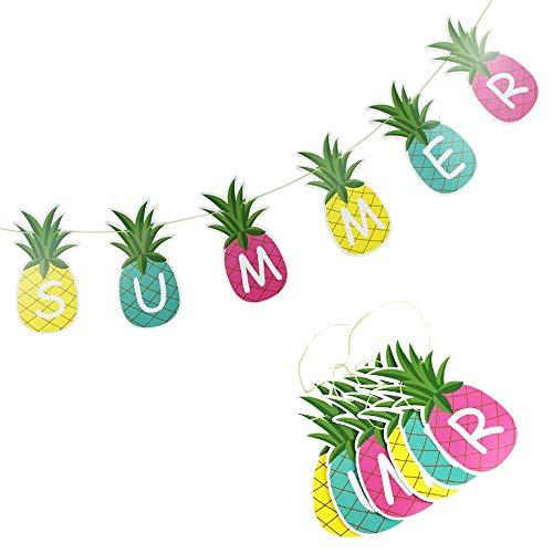 Decoraciones Fiesta Verano Piña Guirnalda Bunting Fruta Guirnalda Tropical Hawaiano Cumpleaños Piscina Fiesta Flamenco Decoración Para El Hogar