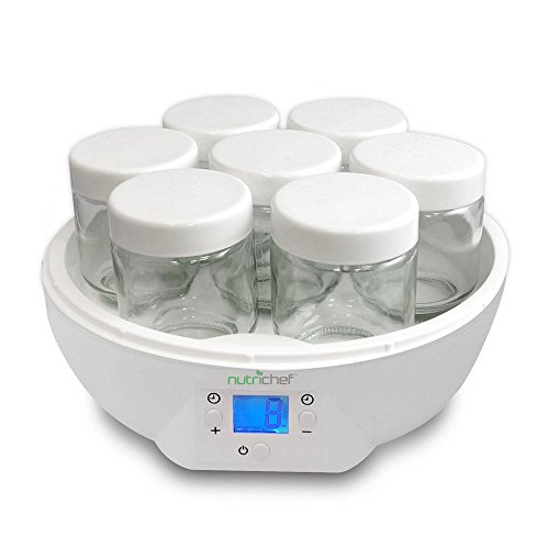 Fantastic Prices! NutriChef AZPKYM26 Digital Electronic Yogurt Maker, 4.04 pounds, White