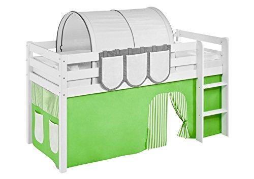Lilokids Vorhang Grün Beige - für Hochbett, Spielbett und Etagenbett