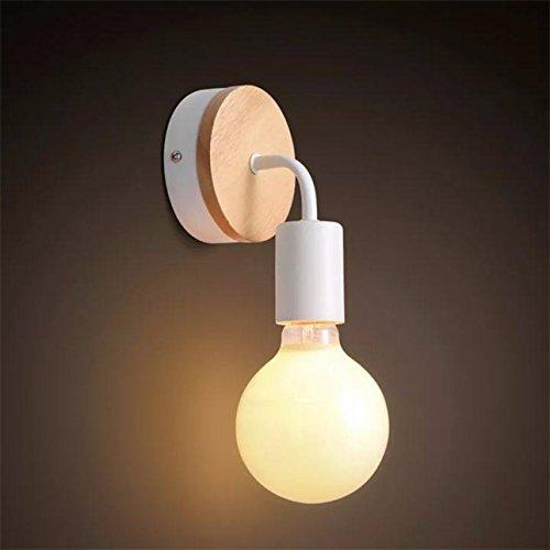 YUENSLIGHTING Lampe murale en fer forgé classique en bois moderne E27 40W (sans ampoule)