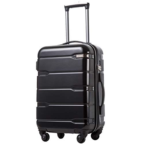 COOLIFE Luggage Expandable(28in Expandable)) Suitcase PC+ABS Spinner Built-in TSA Lock 20in 24in 28in Carry on (Black, 28in(75cm 90L))