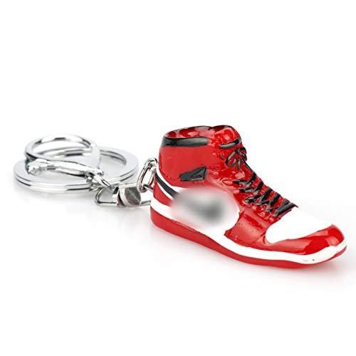 YCEOT Mini Schoen Sleutelhanger Rood Zwart Mannen Vrouw Kids Gift Sleutelhanger Retro Basketbal Sneaker Sleutelhanger Auto Accessoires 01red