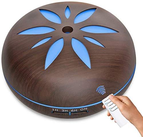 SKNTU 550ml Espera humidificadores para la casa, el Aceite de Madera de Top-aromático, un humidificador ultrasónico y la Distancia de 7 Colores de humidificadores de iluminación LED, humidifica.