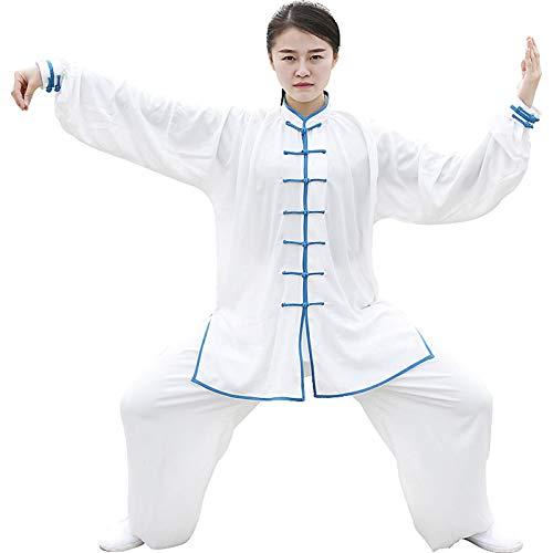 Taiji Uniforme Classico Kung Fu Uniformi di Arti Seta Marziali Arti Marziali Taichi Practice Abbigliamento per Uomo Donna 10 Colori Unisex,White4,S