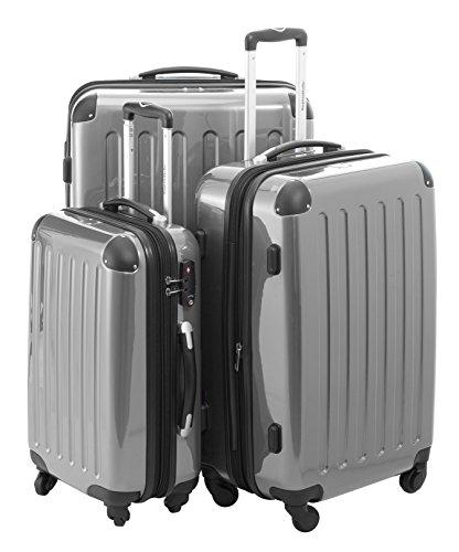 HAUPTSTADTKOFFER 3er Hartschalen Kofferset · Handgepäck 42 Liter + Koffer 74 Liter + Koffer 119 Liter· Hochglanz · SILBER