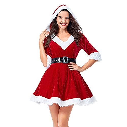 Jodimitty Weihnachtskostüm Mrs. Santa Claus Kostüm Weihnachtskleid mit Kapuze und Gürtel Christmas Hoodie V-Auschnitt Dress Xmas Outfit Cosplay Abendkleid