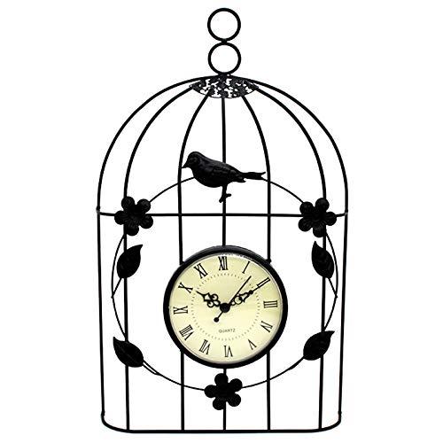 AIRUYI Reloj de Pared de Jaula de pájaros Vintage Antiguo Estilo decoración Colgante (Color : Black)