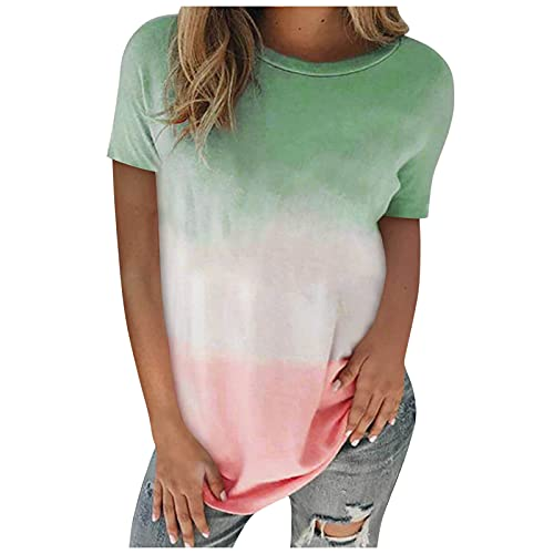 Camiseta de verano para mujer, con degradado, elegante, manga corta, cuello redondo, básica, camiseta de verano, Verde A., L