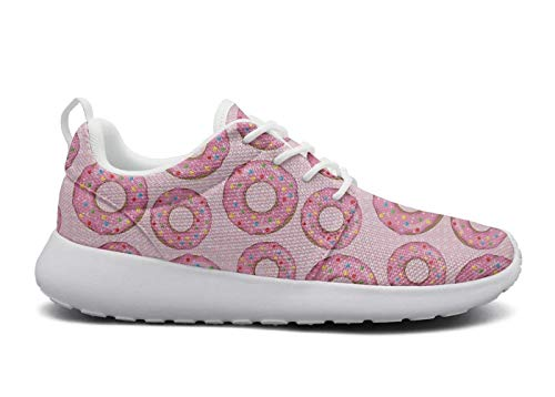 rttyl et67u67 unique sneaker young women fashion pink cute glazed donut print outdoor athletic running shoes