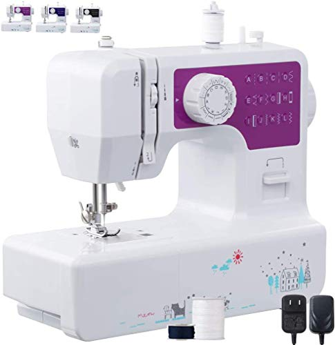 Multifunction Mini Sewing Machine 12 Built-in Stitches, 2 Speeds Double Thread,Portable Sewing Machine Portable Lightweight Sewing Machine Best for Beginner (with Sewing Kit,US Plug)