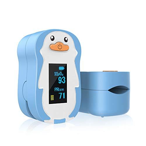 ViATOM Präzise Pulsoximeter Kinder Baby von 2 bis 12 Jahren Sauerstoffsättigung Messgerät mit Warnfunktion für SpO2 & PR Blutsauerstoffsättigung und Pulsfrequenz-Lanyard (blau)