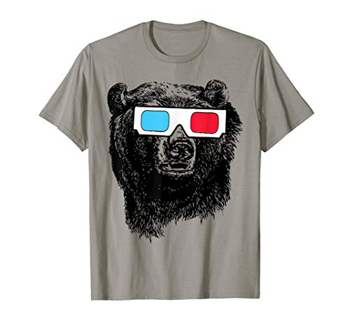 Bear 3D Glasses T-Shirt funny sarcastic novelty humor cool T-Shirt