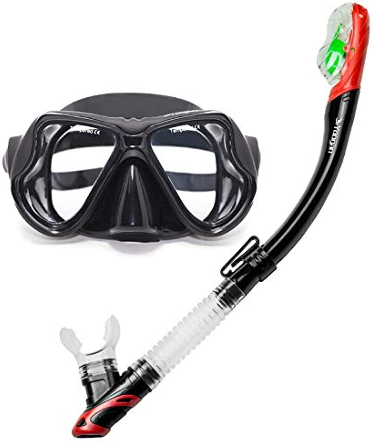 GuoBomatealliance Watersports Water Sports Yoogan Adult Full Dry Mask Breathing Tube Swimming Glass Diving Equipment Suit, Can Match Myopic Lens(Black)