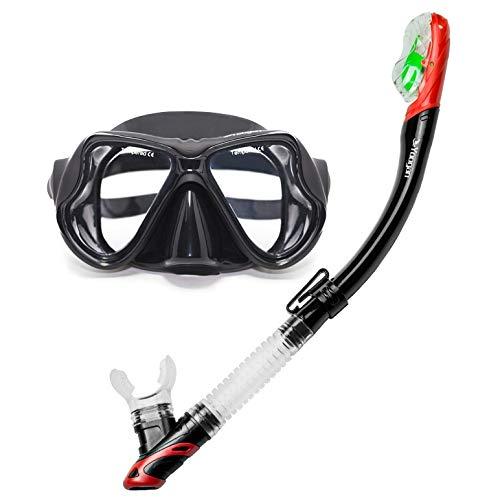 Qiuge Vasos Yoogan Completa de Adulto seco máscara de respiración del Tubo de Cristal Piscina Traje Equipo de Buceo, Pueden emparejar el miope Lente (Negro) QiuGe (Color : Black)