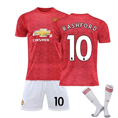 CFLL Kid's Manchester United Red Jersey 2020/21 Home Manchester Soccer Uniform FC Youths Soccer T-Shirt Set with Socks,a,M