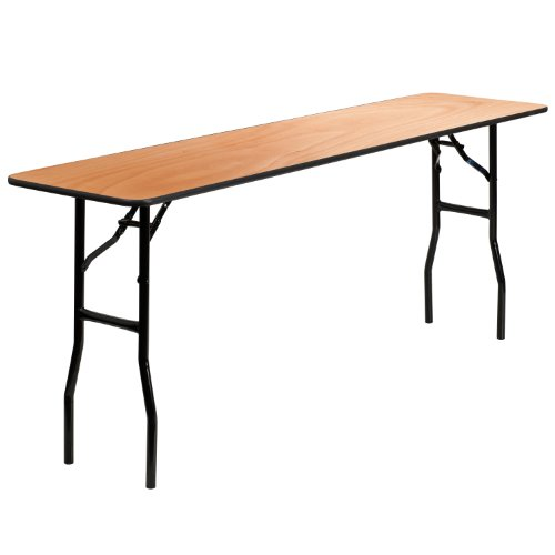 Flash Furniture 6-Foot Rectangular Wood Folding Training / Seminar Table with Smooth Clear Coated Finished Top