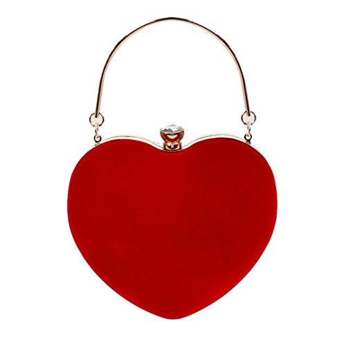 ABBY Mme Sac De Soirée Sac Diamant Soirée Rouge Femmes Suede Coeur Purse Mini Embrayages Et Soir Pochette Party Sac Avec Chaîne Et Poignée Anneau/Rouge