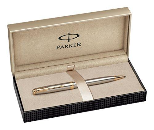 Parker S0809140 Sonnet-Kugelschreiber (edelstahl mit vergoldeten Verzierungen, mittlere Spitze, schwarze Tinte)