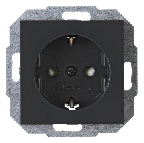 Kopp 940015083 Athenis Schutzkontakt-Steckdose, 250 V, 1-fach mit Berührungsschutz, anthrazit
