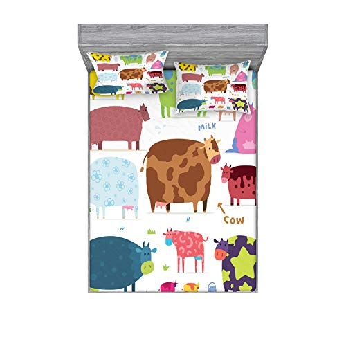 Lunarable Cartoon Fitted Sheet & Pillow Sham Set  A Cartoon Design of Cows Colorful Barnyard with Animals Bucket Inspired by Farm Theme  Decorative Printed 3 Piece Bedding Decor Set  Full  Blue Brown