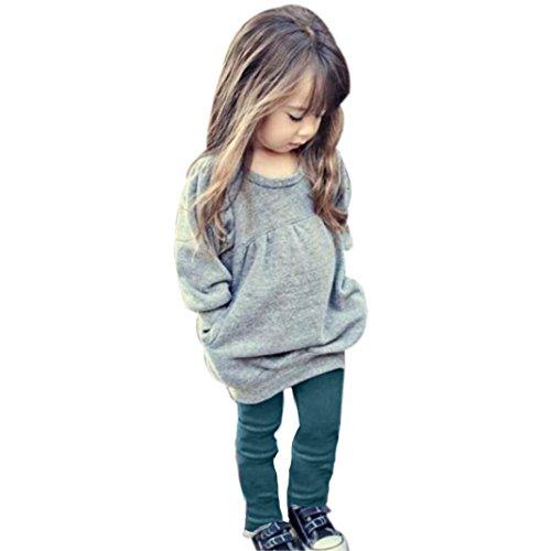 Manches Longues Shirt,LMMVP Tenue Vêtements Chaud Manches Longues t-shirt + Pantalons Longs 1 set Pour Tout-petits Enfants Filles (3T(100))