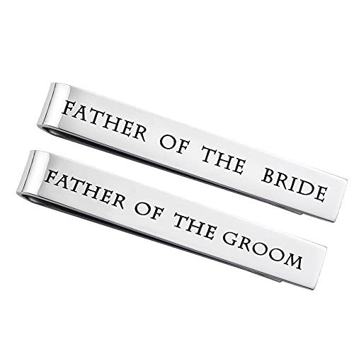 LParkin Stainless Steel Tie Clip Wedding Set - Father of The Groom Tie...