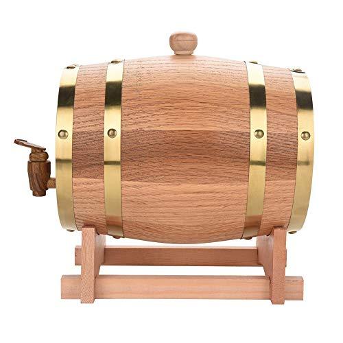 DERCLIVE Barril de Vino de Madera de Roble de Madera Vintage para Cerveza Whisky Ron Puerto (3L)