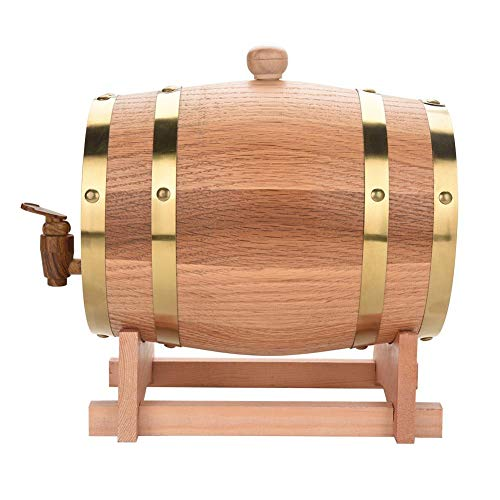 Oak Barrel - Dispensador de vino de roble vintage para vino, cerveza, licores, almacenamiento de 1,5 l / 3 l / 5 l / 10 l, barril de vino barril de roble barril de vino de roble(3L)