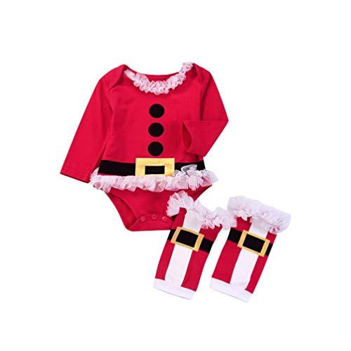 Fenical Bambino Pagliaccetto Vestito Natale Costume Neonato Vestiti Pagliaccetto di Babbo Natale
