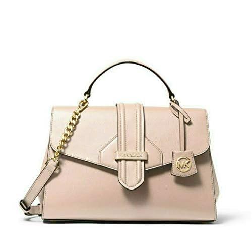 MICHAEL Michael Kors Bleecker Medium Crossgrain Leather Satchel in Soft Pink
