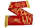 Liverpool FC You'll Never Walk Alone Red Gold Crest Liverbird Scarf LFC Official