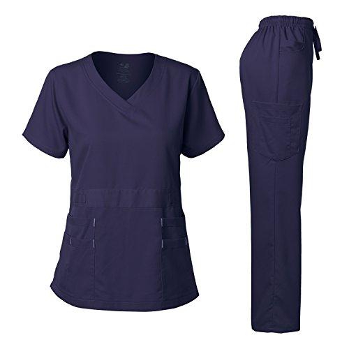 Women's Scrubs Set Stretch Ultra Soft V-Neck Top and Pants Navy M