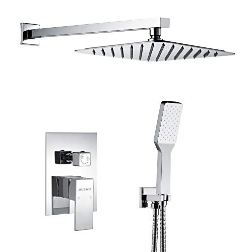 Find Bargain OLEAH Bathroom Rain Mixer Shower Faucet Combo Set Wall Mounted Shower System Polished C...