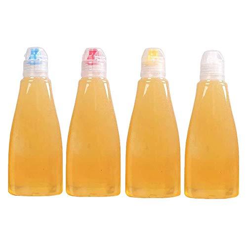 EOPER 4 Stück 400g Wiederverwendbar Squeeze Honig Flaschen Kunststoff Dichtung Honig Spender mit Kappe Tragbare Gewürze Vorratsdosen Gläser für Ketchup Senf