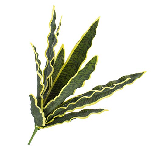 artplants.de Pianta di sansevieria Artificiale con Gambo, Verde-Giallo, 50cm, per Esterni - Decorazione Tropicale/Pianta Decorativa