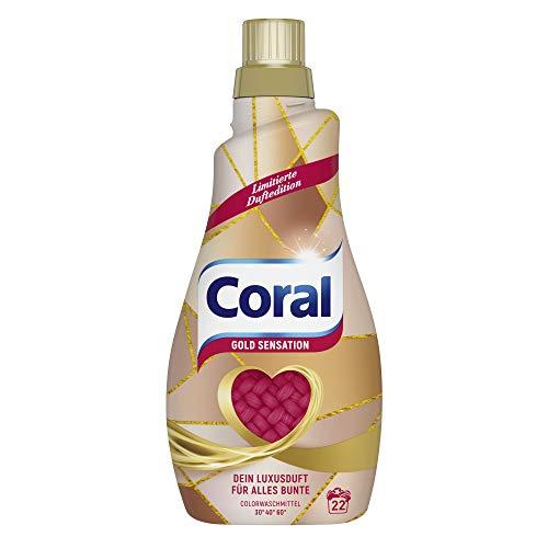 Coral Waschmittel flüssig für bunte Wäsche – 22 Waschladungen hygienisch reine Wäsche, limitierte Edition – Geld Sensation Flüssigwaschmittel ( 1 x 1,1 L)