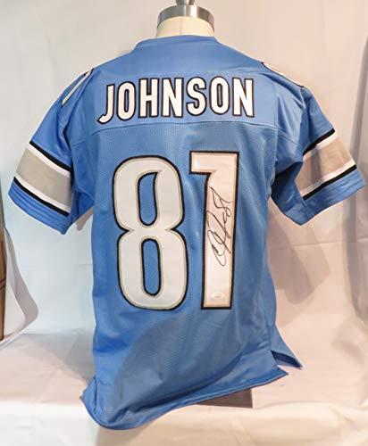 Calvin Johnson Blue Signed Detroit Lions Autographed Custom Jersey JSA
