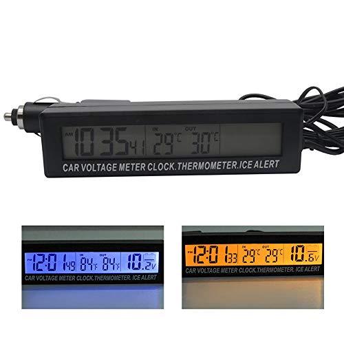 ORETG45 Medidor Voltaje 3 en 1 Noctilucence Interior Fácil Instalar Exterior Termómetro automático Dos Tonos Mini Pantalla LED Multifuncional Reloj Digital Accesorios para automóviles