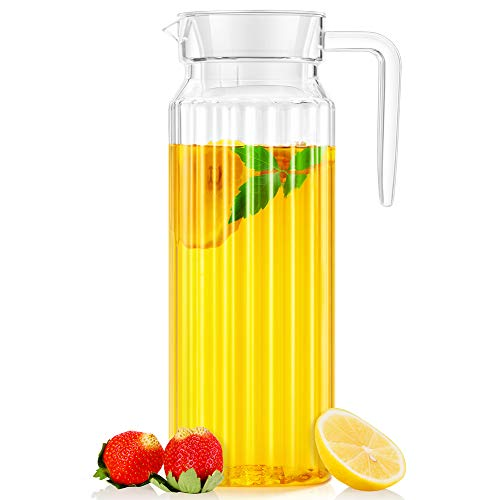 Water Pitcher, OCUBE Food-Grade Plastic Acrylic Juice Jugs with Lid(1.1 Liters) Shatterproof and...