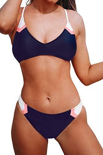 CUPSHE Women s Navy Sport V Neck Lace Up Bikini XXL product image