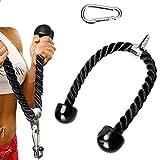 Cuerda de tríceps de 70 cm, resistente de doble agarre tríceps para culturismo, cuerda de entrenamiento tricep extensiones de polea cable accesorio de máquina - negro
