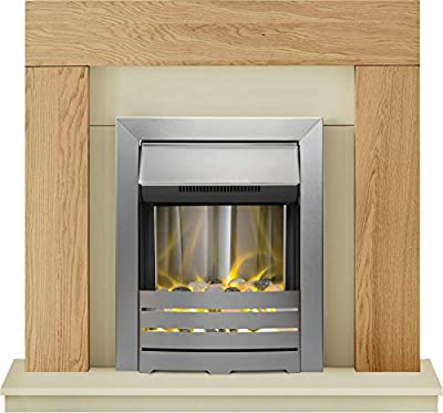 Adam Dakota Fireplace Suite in Oak with Helios Electric Fire in Brushed Steel, 39 Inch