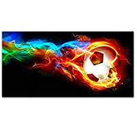 CHBOEN キャンバス絵画家の装飾 サッカーボールオンファイアレインボー抽象壁アートキャンバス絵画現代サッカー壁ポスターとリビングルームクアドロスのプリント 60x90cm(23.6x35.5インチ)