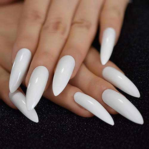 CSCH Faux ongles Slim Extreme Long Stiletto Fake Nails White Sharp Tips Glossy with UV Cover Acrylic Nails with Glue tabs