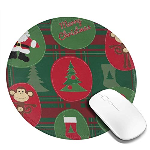 Mousepad Round Monkey New Year, Pattern With Santa Claus And Christmas Tree Computer Laptop Mouse Pad Mini Cute Small Circle Gaming Mouse Mat With Black Rubber Base for Women Kids Girls Boys Men 7.9in
