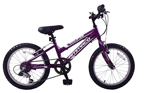 Ammaco Eclipse Girls 18' Wheel Mountain Bike Alloy Lightweight Frame 6 Speed Purple Age 6+