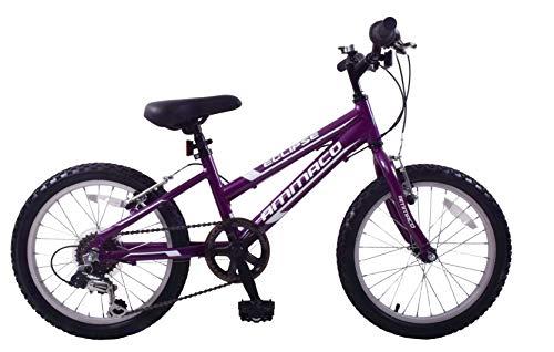 Ammaco Eclipse Girls 20' Wheel Mountain Bike Alloy Lightweight Frame 6 Speed Purple Age 7+