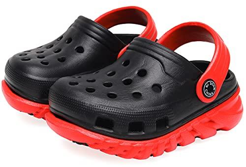 Vunavueya Jungen Clogs Pantoletten Mädchen Eva Badeschuhe Gartenschuhe Kinder Flach Hausschuhe Strand Sandale Sommer Sandalen Schuhe A Schwarz Rot 27 EU(28CN)