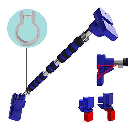 QINDING Doorway - Barra de dominadas portátil de fitness para dominadas, un dispositivo de dominadas multifuncional en la puerta sin perforaciones, color azul 128 cm-152 cm